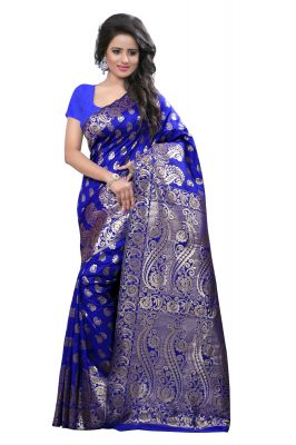 Buy See More Self Design Art Silk Blue Colour Saree Banarasi Saree With Blouse For Women online