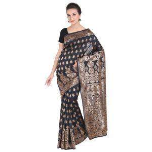 Buy See More Black Art Silk Banarasi Saree online