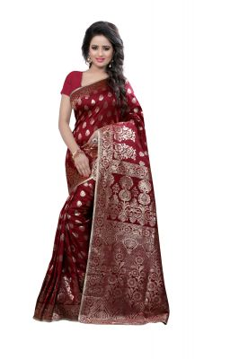Buy See More Self Design Maroon Color Kanjivaram Art Silk Saree Ideal for Diwali Gifts Online online