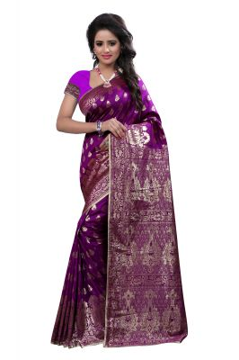 Buy See More Self Design Kanjivaram Art Silk Saree Purple online
