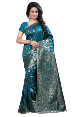 Buy See More Self Design Rama Kanjivaram Art Silk Saree Ideal for Diwali Gifts Online online