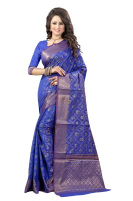 Buy See More Self Design Blue Color Banarasi Patola Saree online