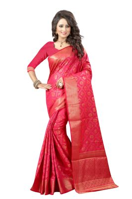 Buy See More Self Design Magneta Color Banarasi Patola Saree online