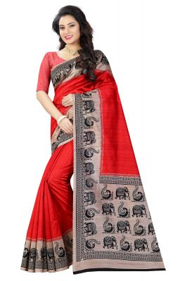 Buy See More Red Color Printed Bhagalpuri Saree online