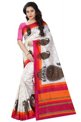 Buy See More White And Pink Color Printed Bhagalpuri Saree online