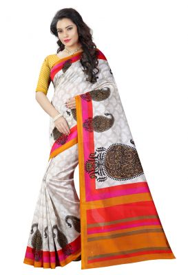 Buy See More White And Yellow Color Printed Bhagalpuri Saree online