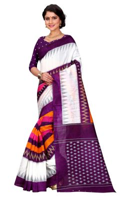 Buy See More White Color Printed Bhagalpuri Saree online