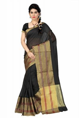 Buy See More Self Designer Black & Golden Color Tussar Silk Saree With Blouse Piece online
