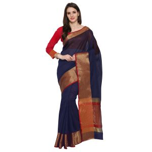 Buy See More New Navy Blue Colour Self Design Solid Poly Cotton Banarasi Saree online