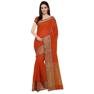 Buy See More Red Colour Self Design Solid Poly Cotton Banarasi Saree online