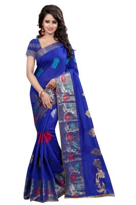 Buy See More Self Design Blue Color Banarasi Poly Cotton Saree With Blouse Piece Haka Desi Blue online
