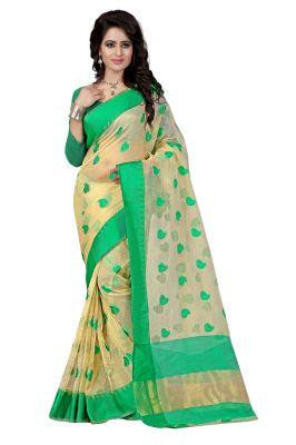 Buy See More Self Designer Color Green Cotton Saree With Golden Border Kavya 1 Green online