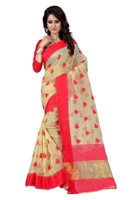 Buy See More Self Designer Color Red Cotton Saree With Golden Border Kavya 1 Red online