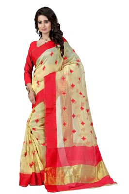 Buy See More Self Designer Color Red Cotton Saree With Golden Border Kavya Red 3 online