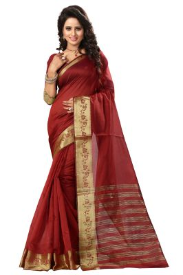Buy See More Self Design Red Color Art Silk Saree online
