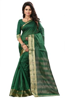 Buy See More Self Design Green Color Art Silk Saree online