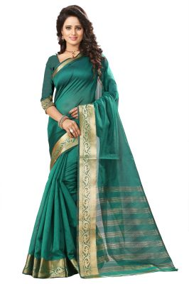 Buy See More Self Design Rama Color Art Silk Saree online