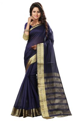 Buy See More Self Design Nevy Blue Color Art Silk Saree online