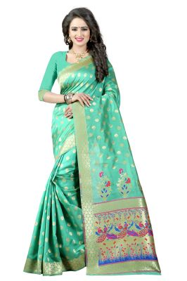 Buy See More See Green Color Paithani Silk Saree online