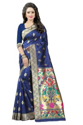 Buy See More Nevy Blue Color Paithani Silk Saree online