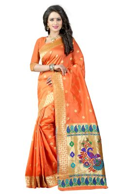 Buy See More Orange Color Paithani Silk Saree online