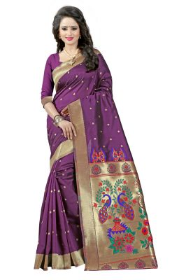 Buy See More Magenta Color Paithani Silk Saree online