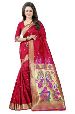 Buy See More Red Color Paithani Silk Saree Paithani 4 Red online
