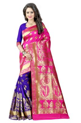Buy See More Pink Color Self Design Art Silk Woven Work Saree online
