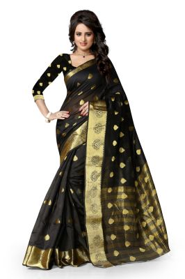 Buy See More Art Silk Banarasi Saree With Blouse For Women- Black With Golden online