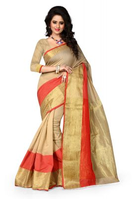 Buy See More Art Silk Banarasi Saree With Blouse Chikku and Red Ideal for Diwali Gifts Online online
