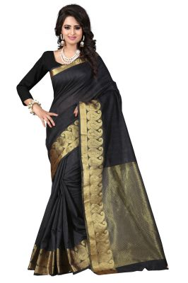 Buy See More Self Designer Black Colour Cotton Saree With Golden Border Raj Kesar Black online