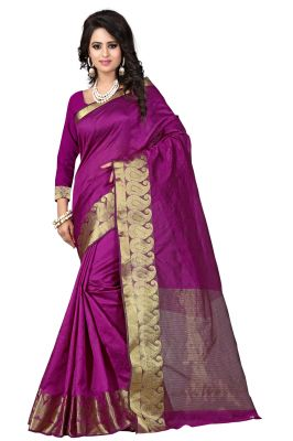 Buy See More Self Designer Mazenta Colour Cotton Saree With Golden Border Raj Kesar Mazenta online
