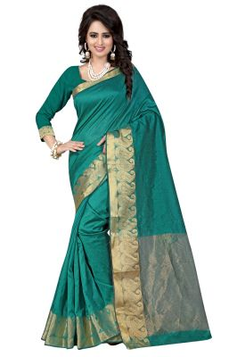 Buy See More Self Designer Rama Colour Cotton Saree With Golden Border Raj Kesar Rama online
