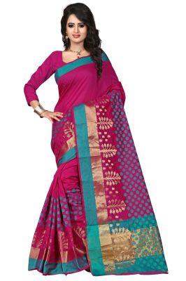 Buy See More Self Designer Color Mazenta Cotton Saree With Golden Border Raj Pari Mazanta online