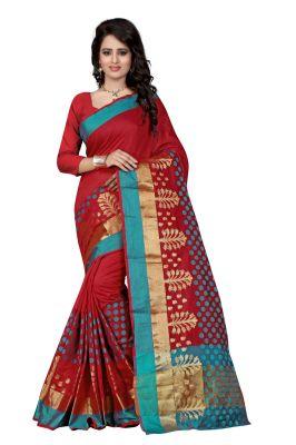 Buy See More Self Designer Color Red Cotton Saree With Golden Border Raj Pari Red online