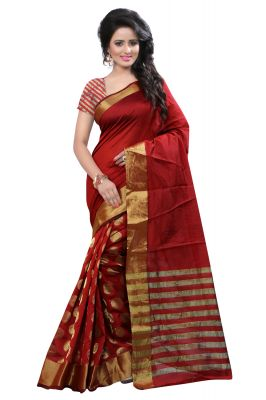 Buy See More Self Design Banarasi Cotton Saree Raj Red Round online
