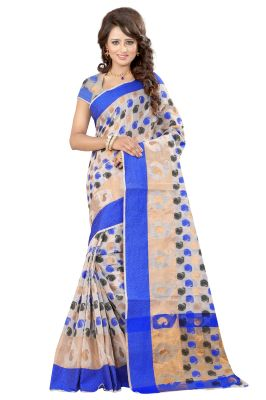 Buy See More Self Designer Blue Color Poly Cotton Saree With Blouse Piece online