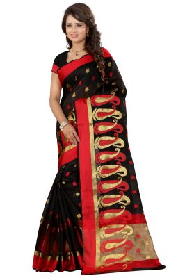 Buy See More Self Designer Black Color Poly Cotton Saree With Blouse Piece online