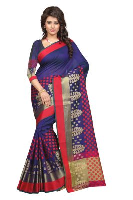 95585d7b84 Buy See More Self Design Blue Colour Poly Cotton Banarasi Saree With Blouse  For Women Sathiya_newone_blue