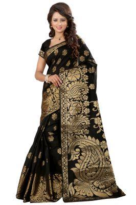 Buy See More Self Designer Black Color Kolam Patta Saree With Blouse Piece Sathiya Poshak Black online