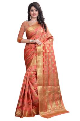 Buy See More Self Designer Peach Color Art Silk Saree With Blouse Piece Sharma Banarasi Peach Brown online
