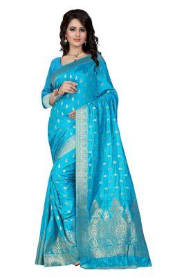 Buy See More Self Design Firozi Color Banarasi Saree Sharma Firozi 720 online