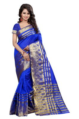 Buy See More Self Designer Blue Color Banarasi Poly Cotton Saree With Blouse Piece online