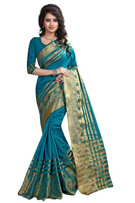 Buy See More Self Designer Rama Color Banarasi Poly Cotton Saree With Blouse Piece online