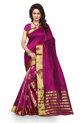 Buy See More Self Design Majenta Color Banarasi Saree Tamasha Gehana Mazenta online