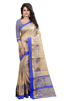Buy See More Self Designer Blue Color Banarasi Poly Cotton Saree With Blouse Piece Woodland Blue 1 online