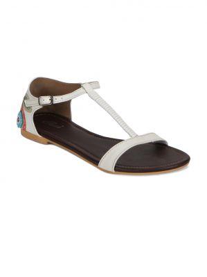 Buy Flora White Flat Comfort Womens Sandal - Fr-2051-02 online