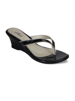 Buy Flora Black Comform Wedges & Womens Slip online