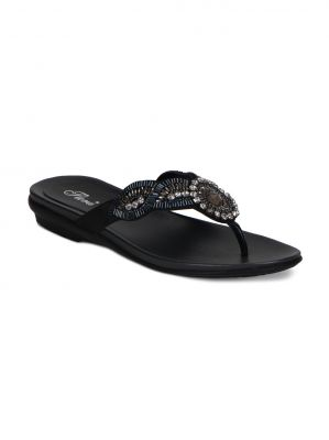 Buy Flora Black Flat Comfort Womens Sandal - Fr-7362-01 online