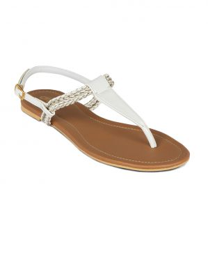 Buy Flora White Synthetic Leather  Flat Sandal For Women online